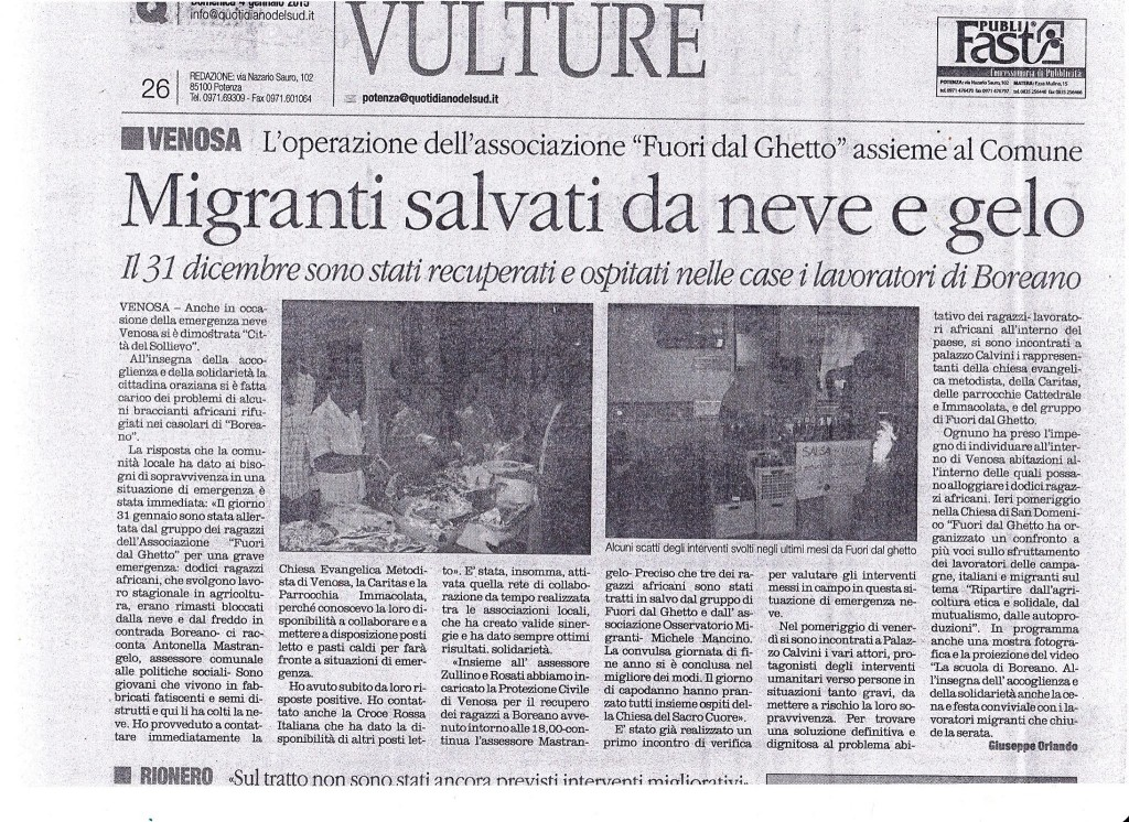 Articolo Il Quotidiano del 31 dic 2014