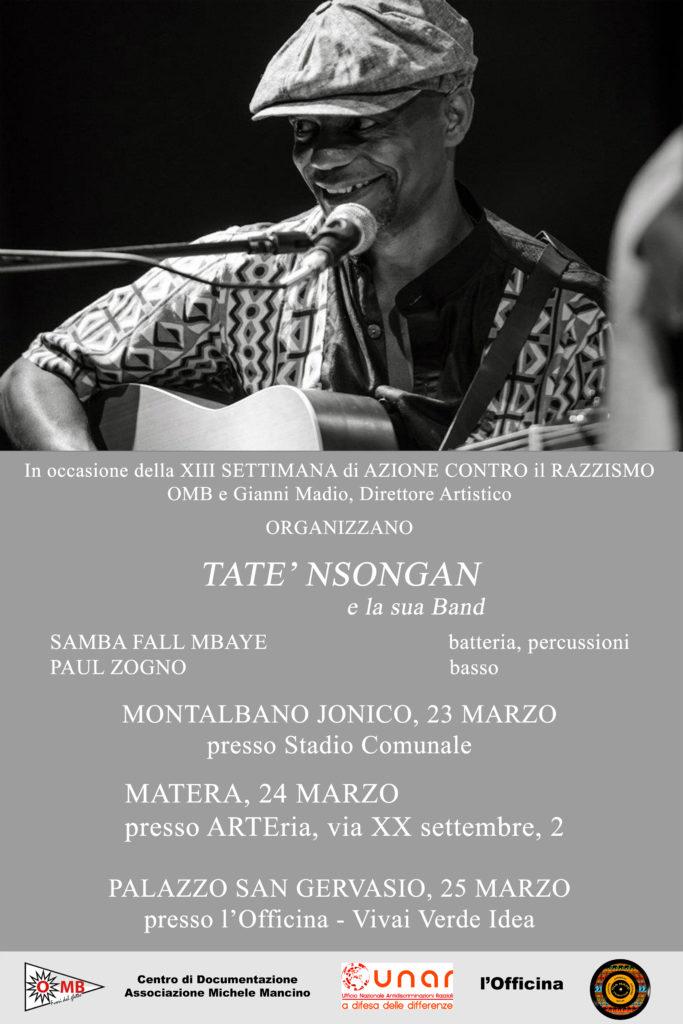 Settimana Contro il Razzismo in Basilicata. Mini tour di Tatè Nsongan